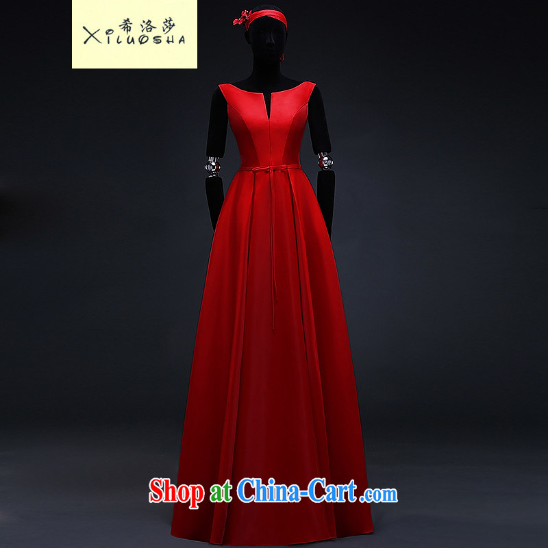 The Greek Cypriot, Mona Lisa (XILUOSHA) satin dress long marriages served toast standard V-neck dress banquet Evening Dress stylish spring 2015 New China Red XXL