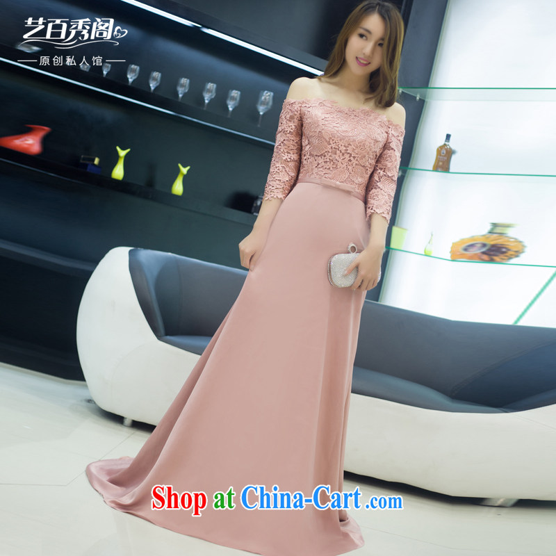 Art 100 Su Ge 2015 New Field shoulder collar bridal dress Original Design banquet elegant beauty with lace dress pink custom + 30 pink custom + _30