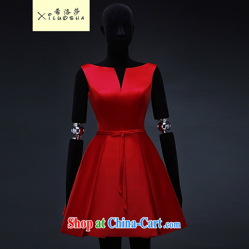 The Greek Cypriot, Mona Lisa (XILUOSHA) Spring 2015 marriage small dress dress bridal toast serving short V-neck red Satin double-shoulder evening dress dress China Red XXL