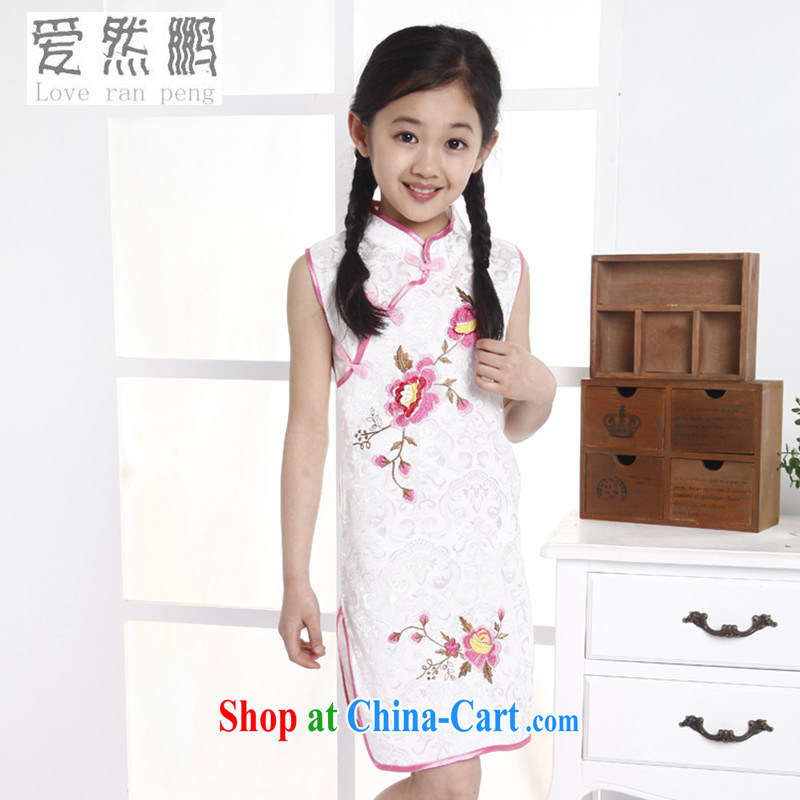 Love so Pang girls Chinese Dress Summer University girls dresses children's boxed cheongsam dress embroidered cotton toner guzheng performance for serving 7 140 CM