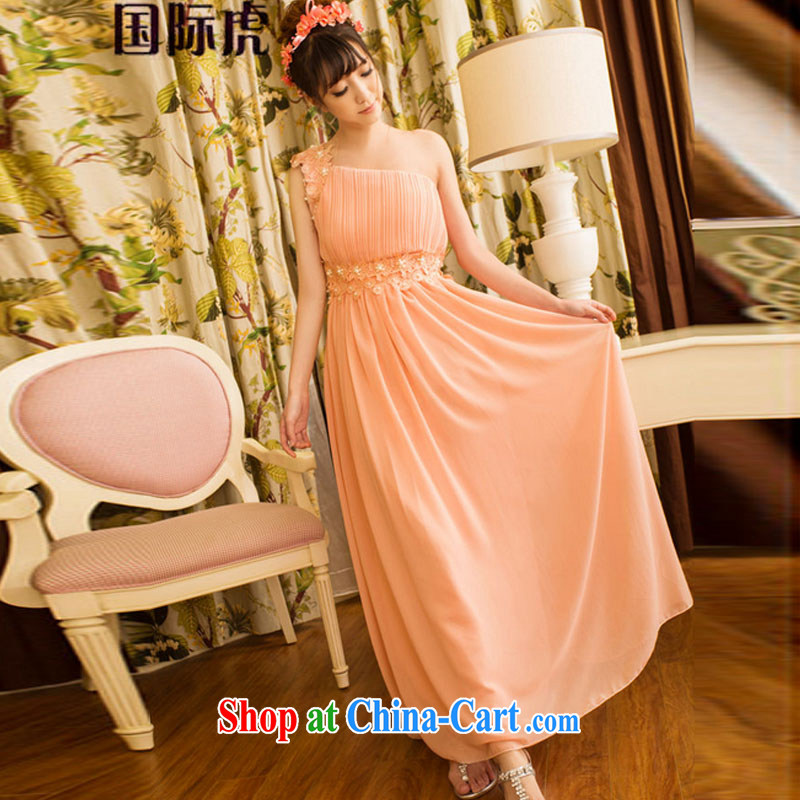 2015 new sweet temperament OL banquet bridesmaid marriage a shoulder dresses girls skirts dress pink M