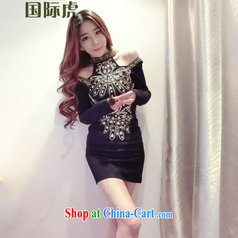 The sense of a goddess ritual temperament embroidery nail jewelry stone beauty graphics thin long-sleeved mini dress dresses black M