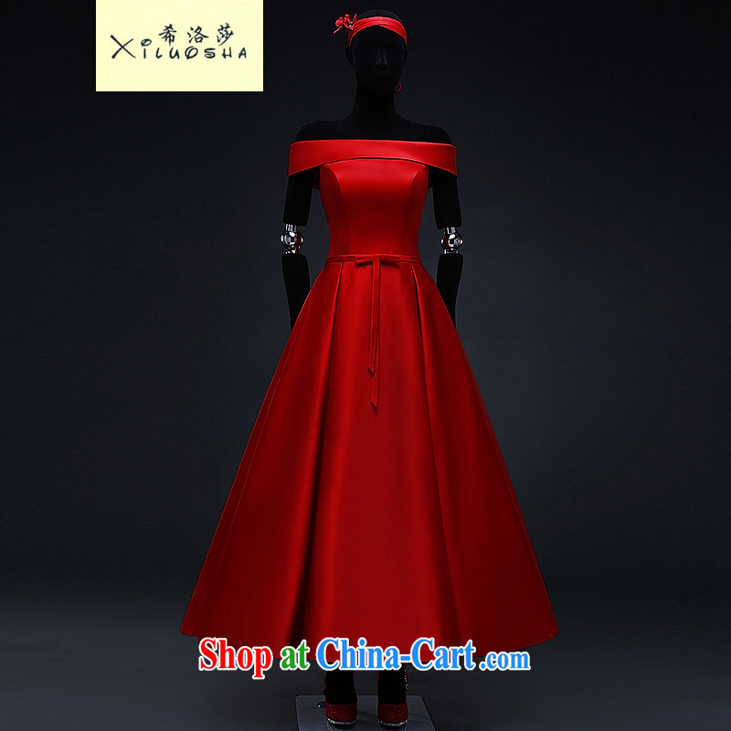The Greek Cypriot, Mona Lisa (XILUOSHA) red Satin wedding dresses 2015 spring bridal shaggy dress dress wedding toast in their long, China Red XXL