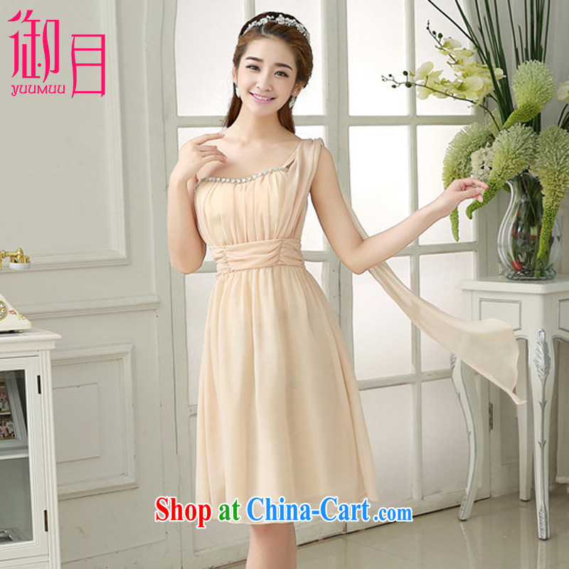 Imperial Palace, toast serving short skirt and sisters fine nails Pearl double-shoulder bridesmaid dress sister serving Korean bows service dress champagne color code