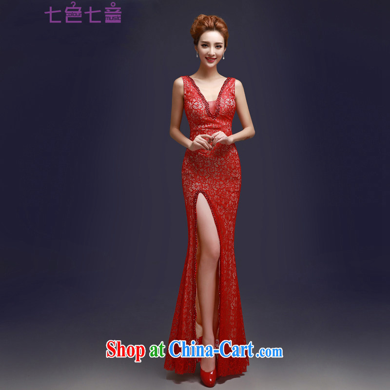 7 color 7 tone 2015 red new lace bridal toast clothing dress shoulders cultivating long dress L 008 red M