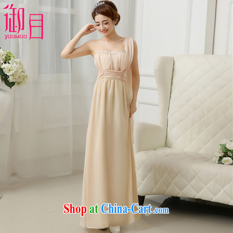 Imperial Palace, Evening Dress Long skirts and sisters fine nails Pearl double-shoulder bridesmaid dress sister serving Korean bows service dress champagne color code