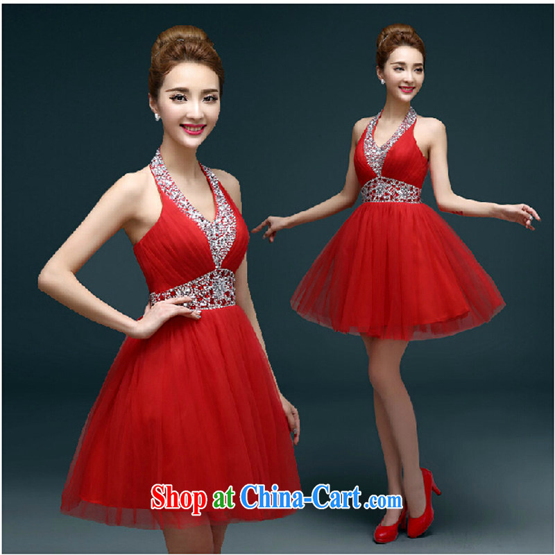 Pure bamboo 2015 new, large, red, small dress short married women toast service banquet dress shaggy dress summer female Red XXXL