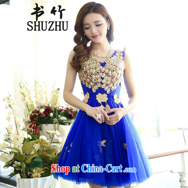 Bridal toast service summer 2015 New Stage dress short skirt the small Evening Dress bridesmaid service royal blue M