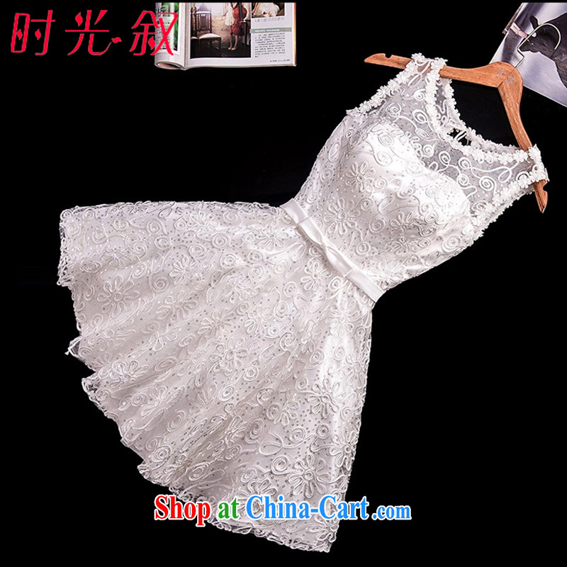 Time his white bridesmaid dress 2015 new summer marriages served toast dress tied with a short, small dress skirt the betrothal banquet evening dress white XXL