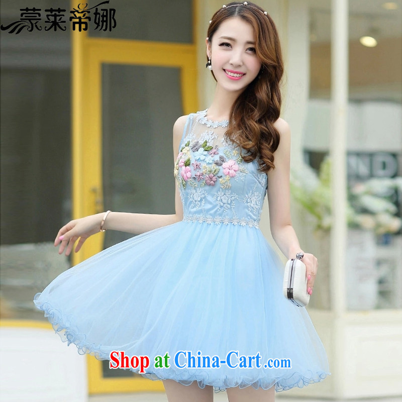 Tony Blair, in Dili, 2015 summer new embroidered style dresses ladies vest shaggy sleeveless lace dress dresses girls 626 blue XXL