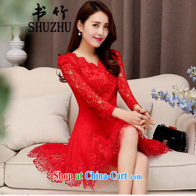 Toasting Service Bridal 2015 spring and summer New red long-sleeved, long wedding dresses wedding dress back to the female red-colored long-sleeved XXL _spot the