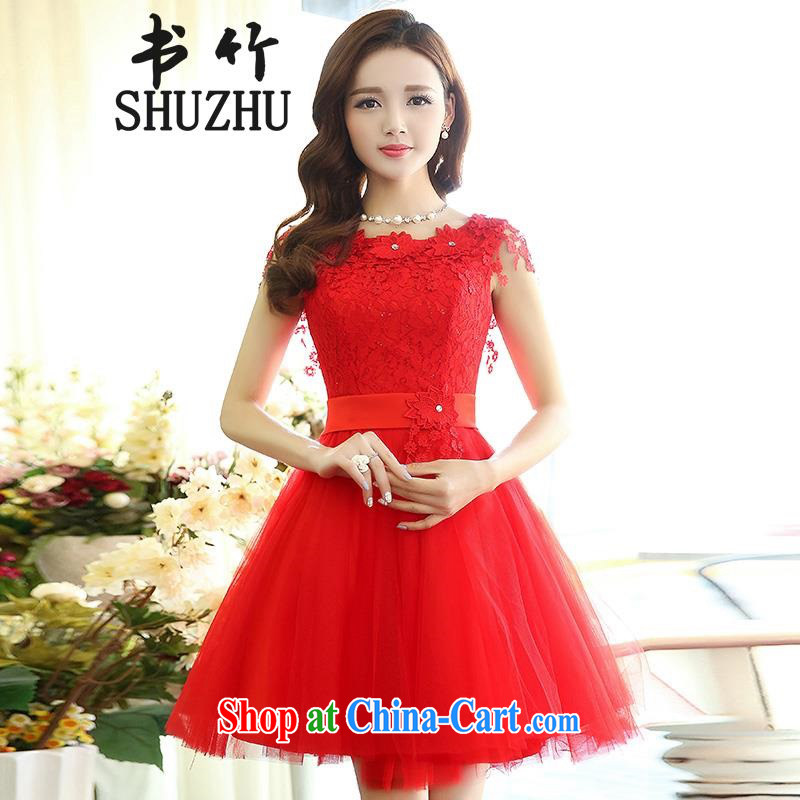 2015 spring new female Korean version, waist sleeveless lace stylish shaggy dress wedding wedding dress red L