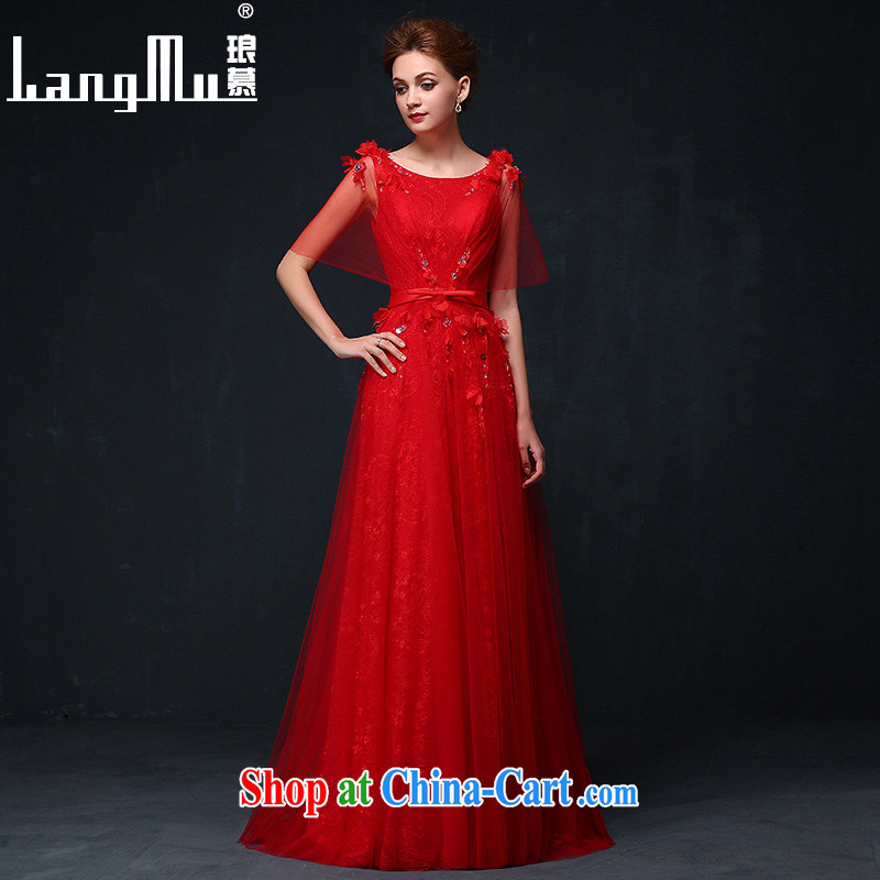 In Luang Prabang in 2015 of New Red double-shoulder dress Black-out meat bridal toast serving flowers beauty with banquet dress china red XL