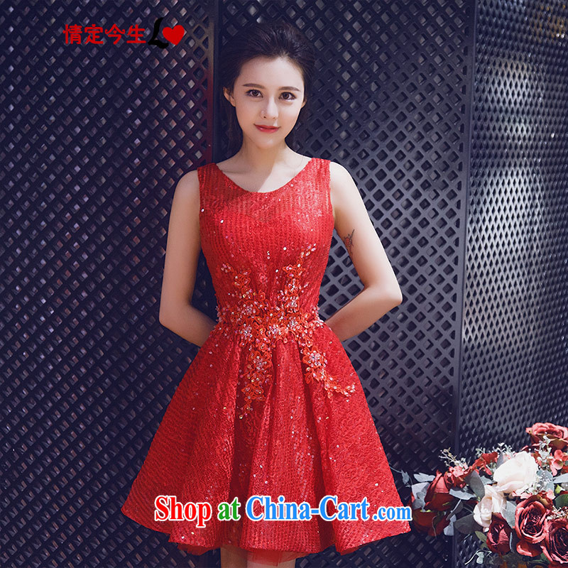 Love Life 2015 summer New Red field shoulder sweet 100 hem dresses bridal wedding dress uniform toast bridesmaid evening dress red XXL