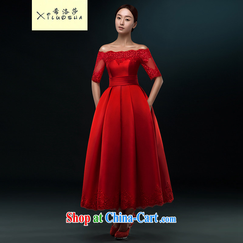 The Greek, Mona Lisa _XILUOSHA_ bridal dresses summer Satin bows in serving the cuff long in Europe and dress a shoulder wedding dresses spring 2015 wine red XXL