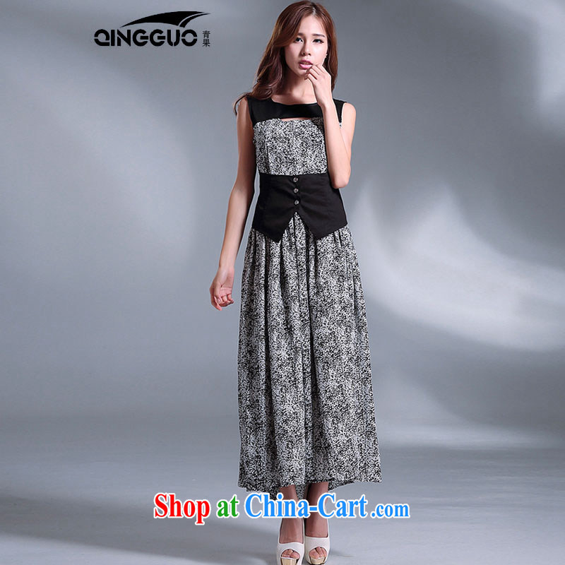 Bohemian long skirt dress snow woven false Two-piece dresses larger snow woven dress suit XL