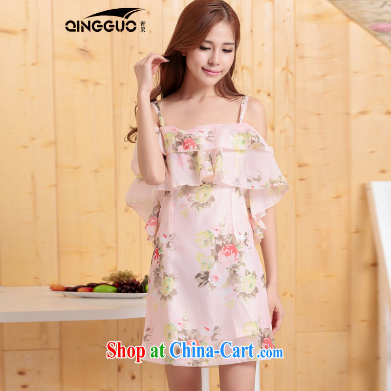 The root yarn bare shoulders a collar straps flouncing floral dress dresses pink L