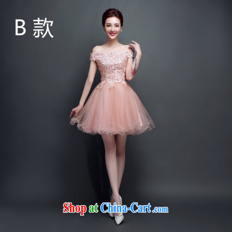 2015 spring and summer new bridesmaid dresses small skirt the Field shoulder short bows serving women evening dress performances wedding dress pleasant bride meat pink B M paragraph