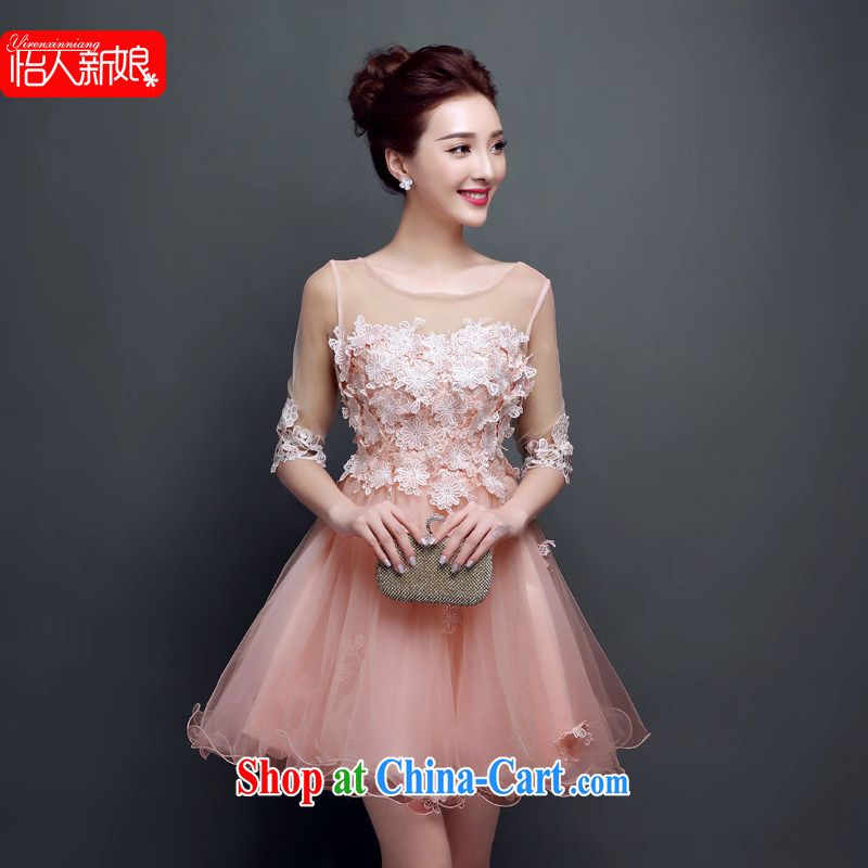 Summer 2015 new bridesmaid dresses small firm a shoulder short bows serving female evening dinner reception wedding dress pleasant bride meat pink XXL