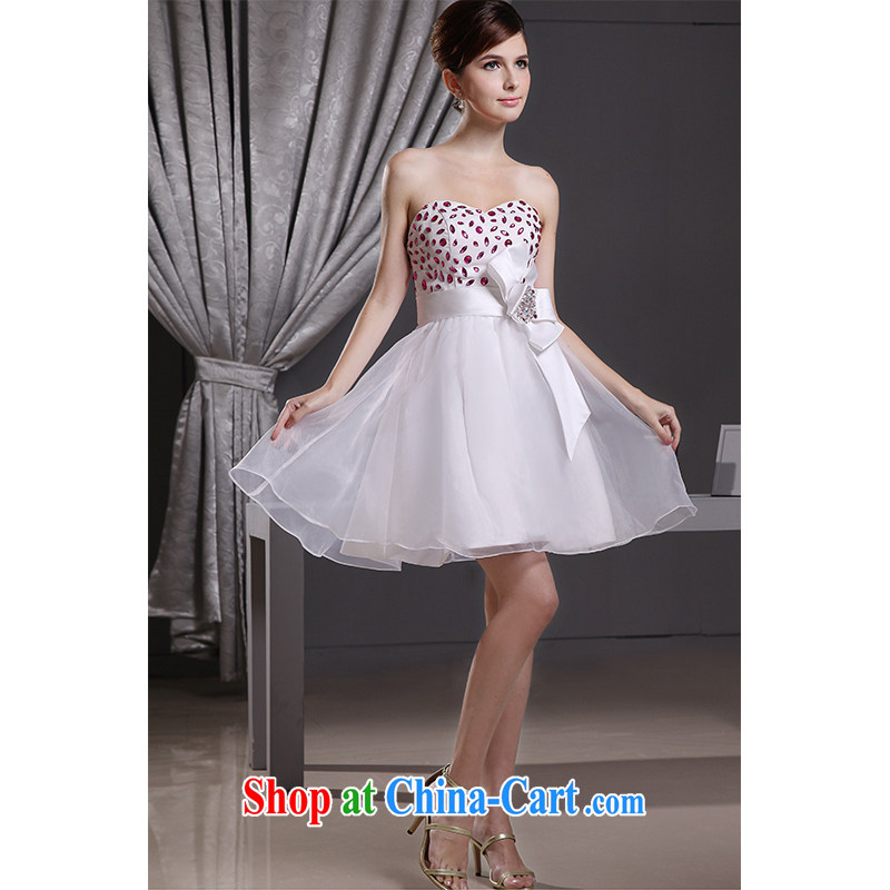 The beautiful yarn 2015 new erase chest marriages bridesmaid sweet short skirts of Yuan beauty graphics thin strap butterfly knot with drilling new products listing
