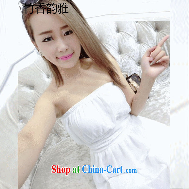 Summer new dress sense of bare chest sweet-waist yarn yarn floating dress dress white L
