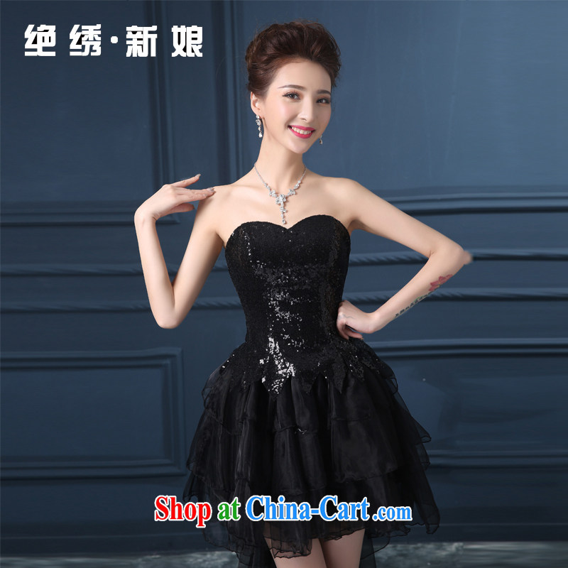 Summer 2015 new erase chest larger graphics thin short bridal wedding banquet dress the show service black S Suzhou shipping