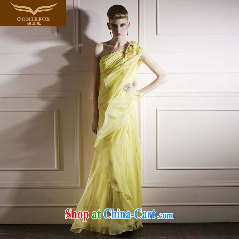 Creative Fox yellow ramp shoulder strap cuff stage. The annual dress exhibition dress beauty long red carpet dress elegant long skirt 80,869 yellow S