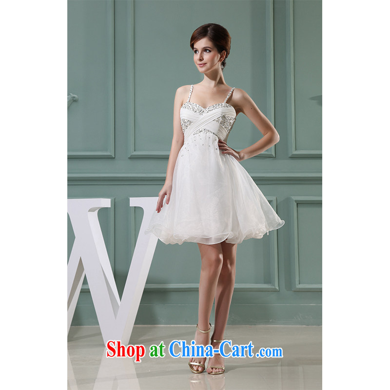 The beautiful yarn strap with shaggy short skirt luxury hand nails Pearl simple and stylish beauty bridal toast short skirt video thin Princess bridesmaid shaggy skirts made factory direct