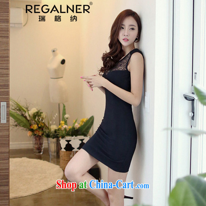 Ryan, the 2015 summer New Name-yuan Openwork lace fluoroscopy with a sleeveless tight night ladies sexy package and dress short black dress XL