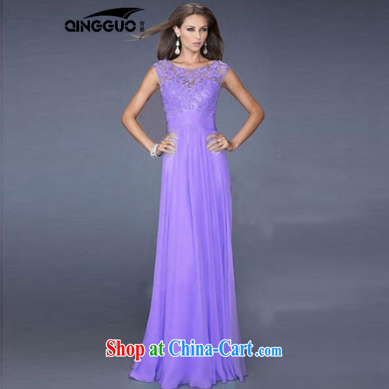 Fruit 2015 Europe and sense of beauty light blue lace spell snow woven back zipper sexy dress purple S
