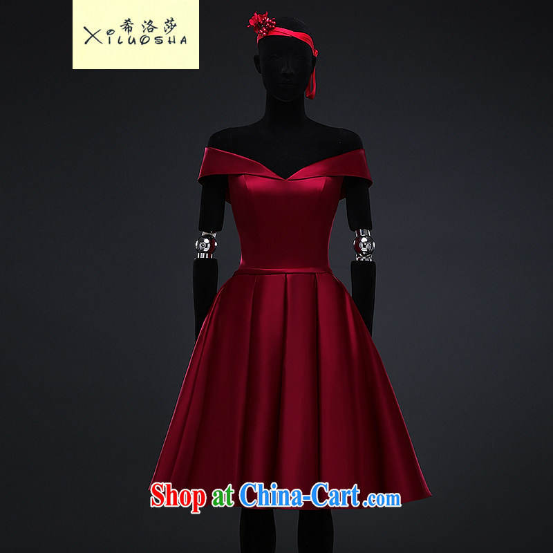 The Greek, Mona Lisa (XILUOSHA) bridal toast serving summer evening dress 2015 new short skirt in a field in Europe and shoulder small dress wine red Satin deep wine red XXL