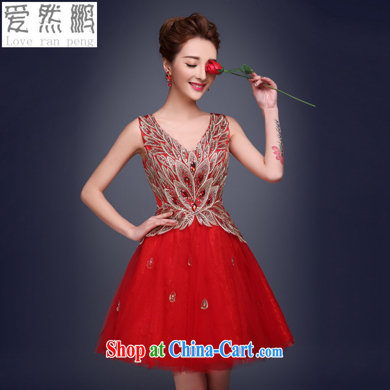 Love so Peng-bride's toast clothing summer 2015 New red short bridesmaid wedding service banquet dress small dress dresses red customers to size. Do not support RMA