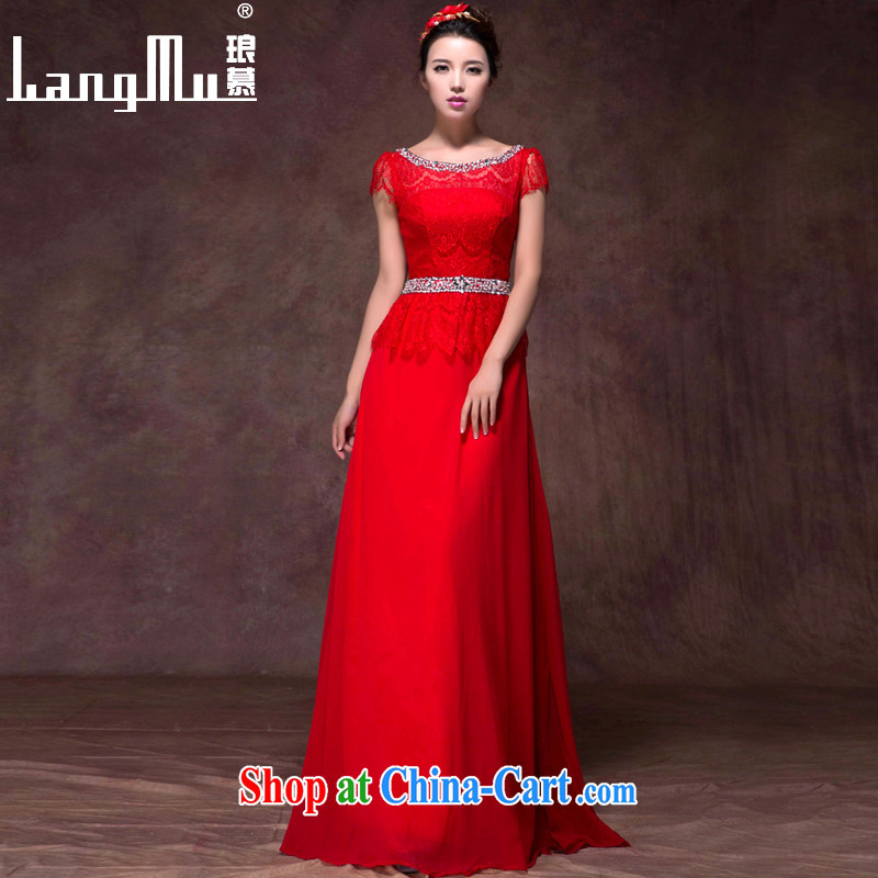 In Luang Prabang in 2015 of new wedding dresses a field package shoulder Korean short-sleeved lace beauty video slim, dress uniform performance China Red L