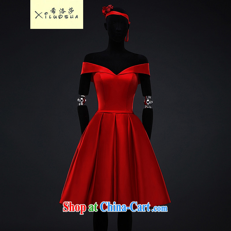 The Greek, Mona Lisa _XILUOSHA_ bridal gown satin dress in female marriage toast serving summer evening dress banquet the Field shoulder stylish small red dress china red XXL