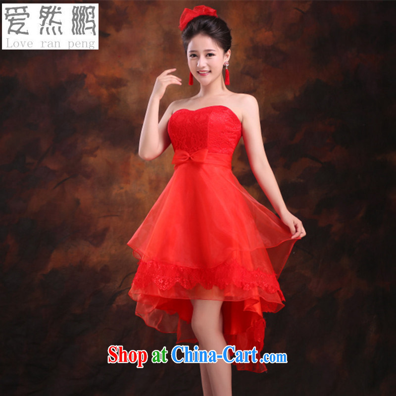 Love so Peng-bridesmaid dress 2015 new bride's bare chest shaggy concert dress short before long after serving toast Evening Dress tied with a summer red customers to size. Does Not Support return