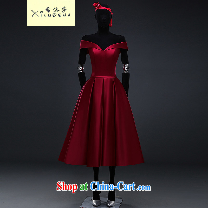 The Greek, Mona Lisa (XILUOSHA) satin dress wine red dress a Field shoulder bridal banquet toast in their long, V for 2015 new summer wine red XXL