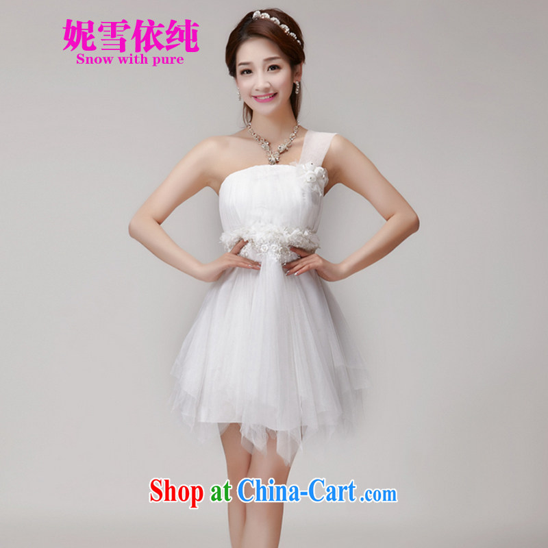 Connie snow in plain bridesmaid service 2015 new bridesmaid dresses in banquet dress sister skirt short, small dress summer 955 white L