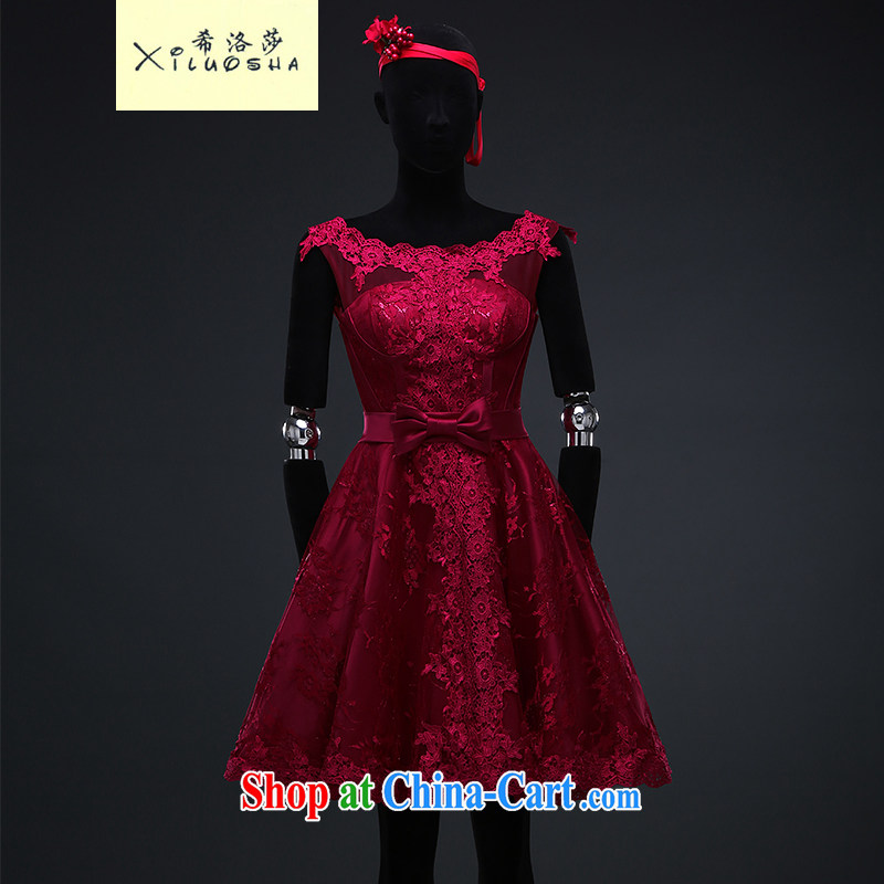 The Greek, Mona Lisa _XILUOSHA_ Evening Dress short wine red banquet Evening Dress dress wedding toast service summer 2015 new lace bows dress wine red XXL