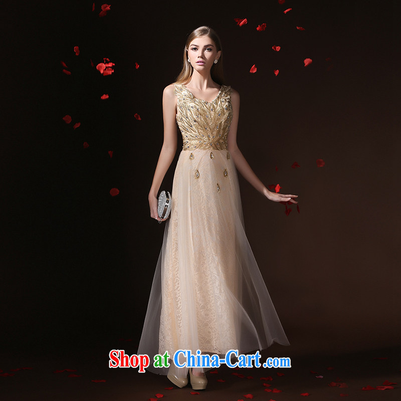 According to Lin Windsor bridal dresses stylish bridesmaid clothing dress champagne color Korean banquet small dress up spring 2015, new champagne color tailored advisory service