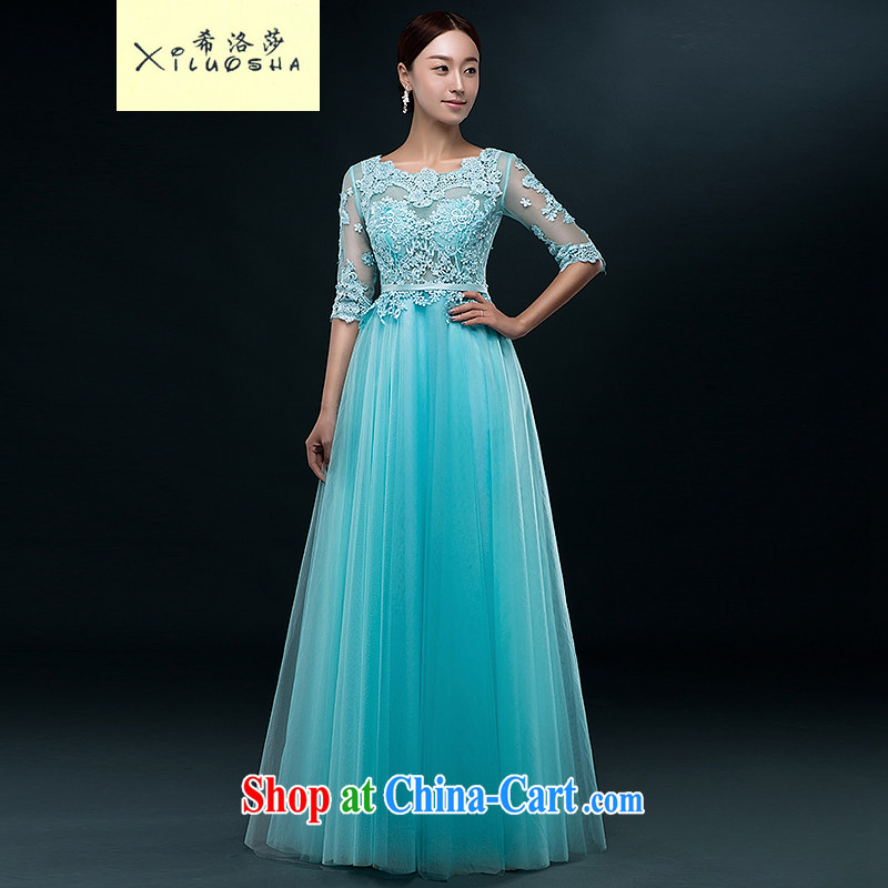 The Greek, Mona Lisa (XILUOSHA) bridal gown long lace sleeves in marriage toast serving stylish banquet dress 2015 new summer light blue XXL