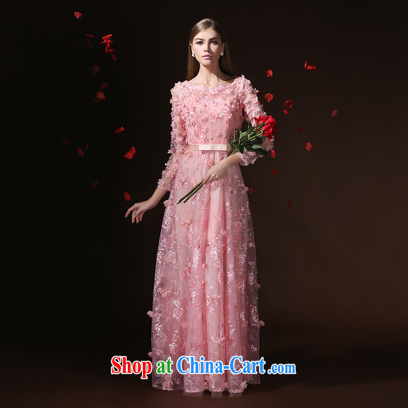 According to Lin Windsor wedding dresses 2015 new long-sleeved style Korean bridal wedding banquet toast long evening dress skirt pink tailored advisory service