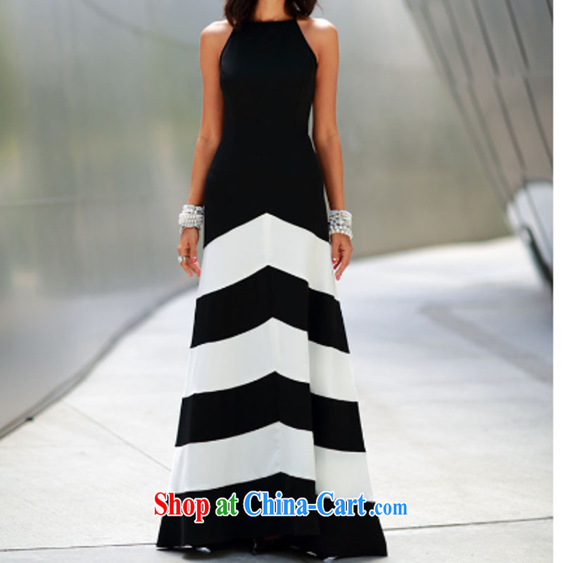 sin yarn Princess 2015 summer dress new black-and-white streaks spell receive waist graphics thin stylish sexy long dresses dress Q 196 black L