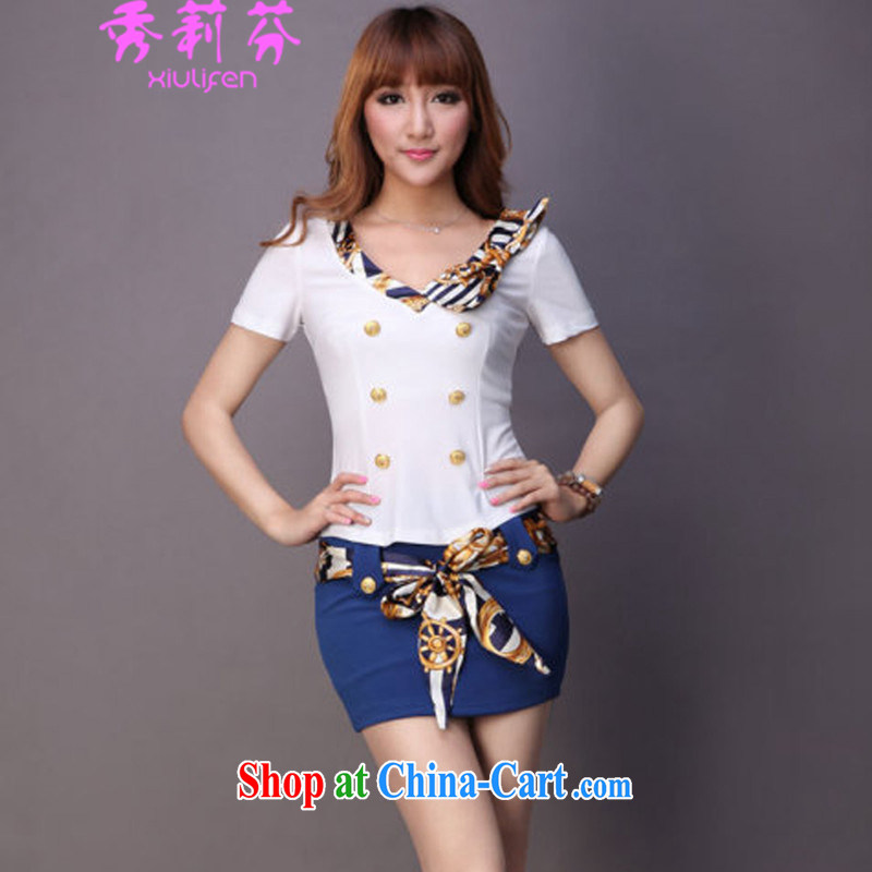 Hsiu-li-fen 2015 new girls night girls stylish sexy beauty package and Muzu Filght Attendant uniforms JM E - 082 - 5219 blue XXL