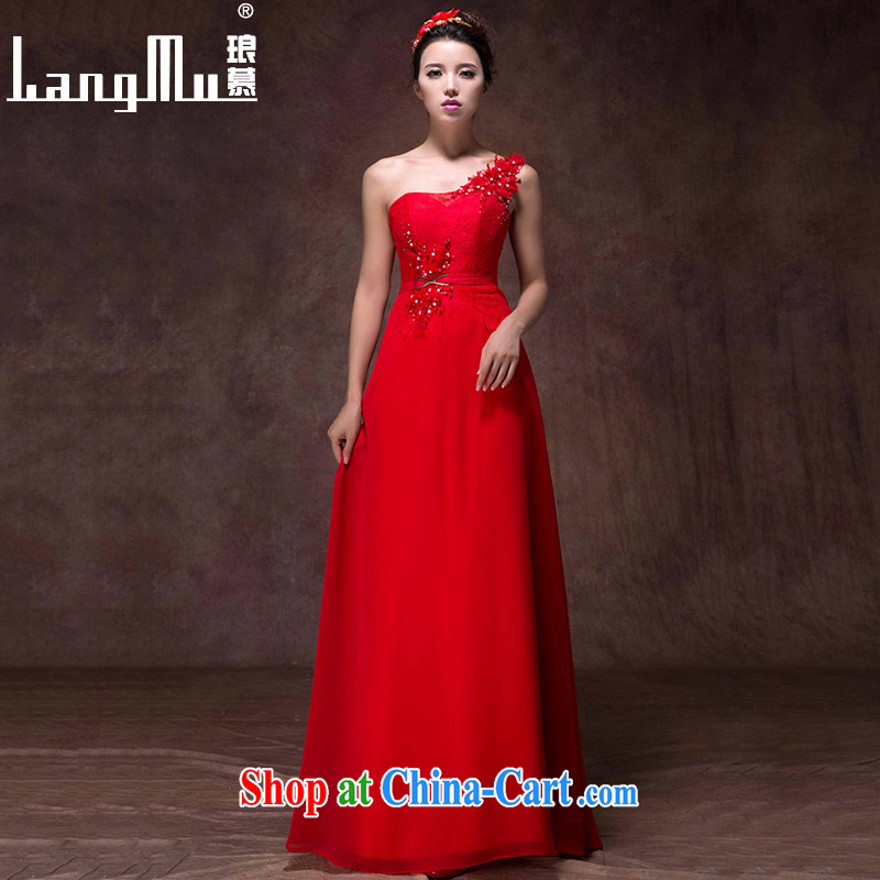 In Luang Prabang in 2015 of new dress single shoulder Korean lace beauty video slim, dress uniforms fall and winter toast, serving China's Red M