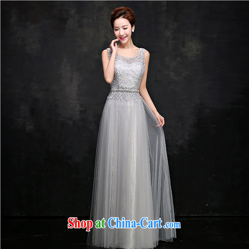 White first to approximately 2015 new summer gray banquet dress long dual-shoulder lace bridal toast serving moderator dress female elegant gray XXL