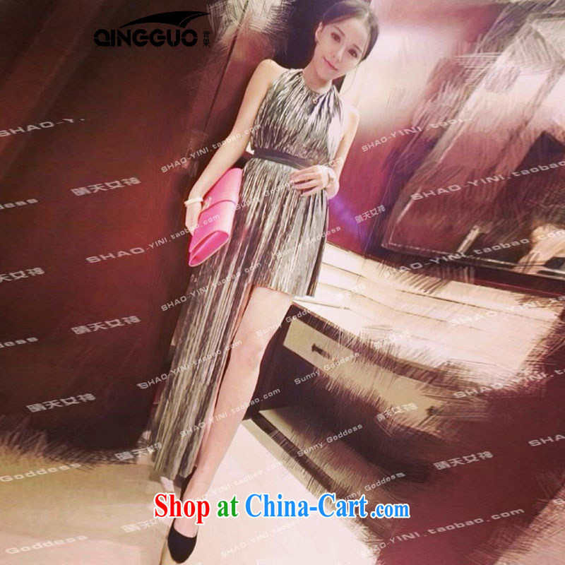 Bamboo incense were new graphics thin irregular street metal of dress dress long skirt 4947 figure color code