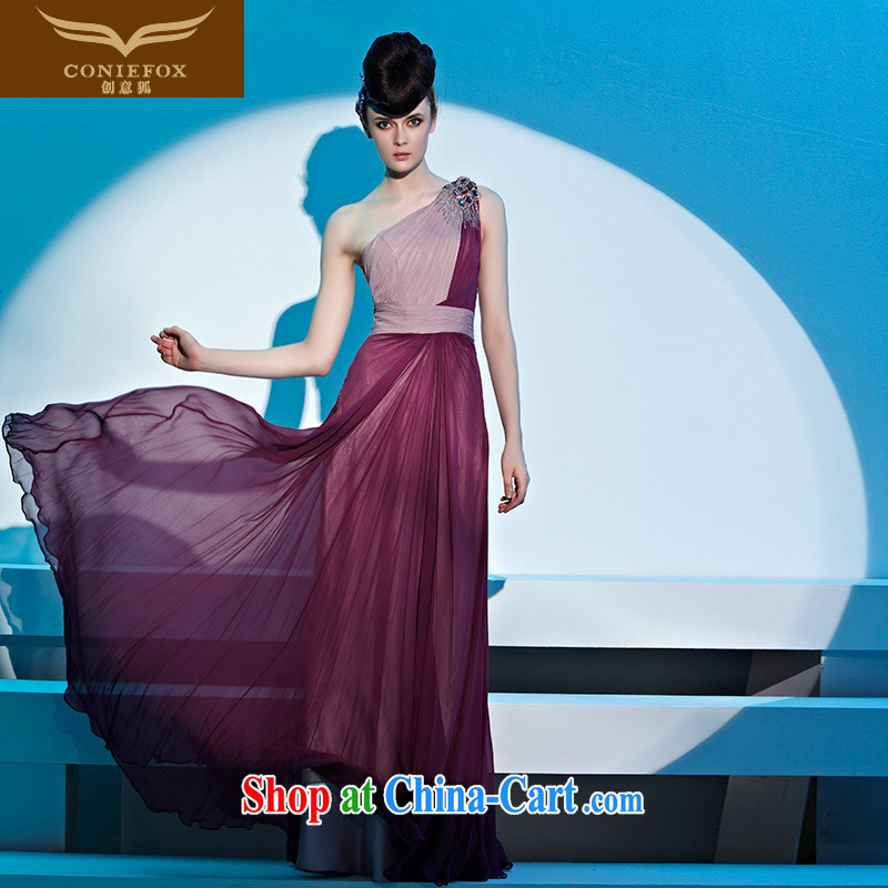 Creative Fox dress dream single shoulder-length beauty, dress banquet toast serving the annual dress bridesmaid dress dress fell to 81,331 dresses picture color XXL