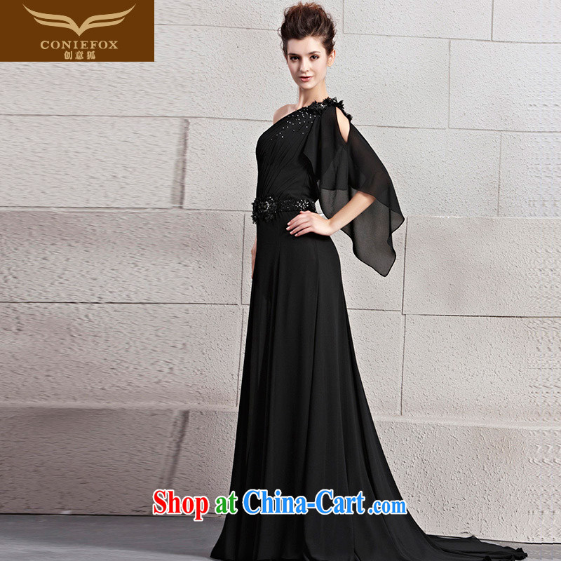 Creative Fox Evening Dress 2015 new elegant parquet drill single shoulder dress black graphics thin dress banquet toast service tail dress skirt 30,032 picture color L