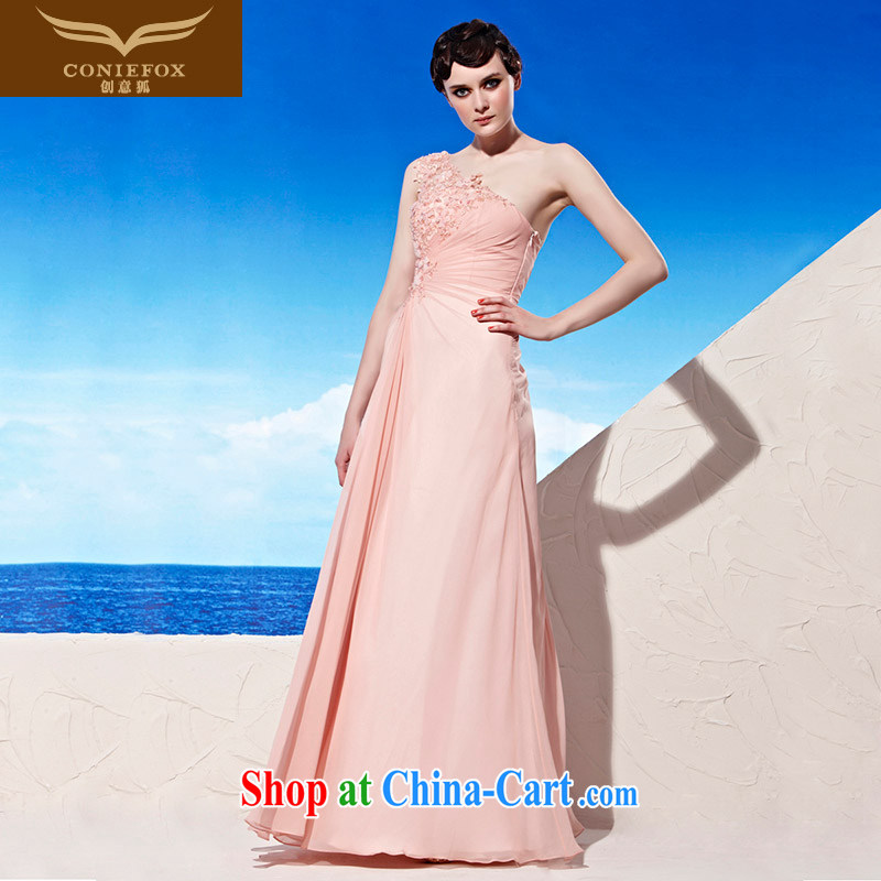 Creative Fox Evening Dress 2015 new bridal dresses serving toast the shoulder dress elegant long graphics thin bridesmaid dress dress wedding dress 56,913 pink XXL