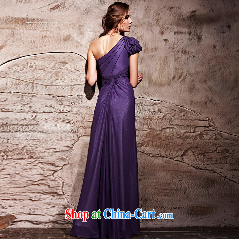 Creative Fox Evening Dress new purple single shoulder sexy dress long skirt and elegant long graphics thin banquet dress the annual concert dresses serving 81,222 purple S, creative Fox (coniefox), online shopping